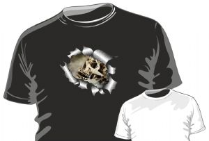 RIPPED TORN METAL Design With Gothic Skull & Cobwebs Motif mens or ladyfit t-shirt
